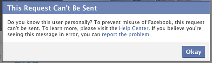 Facebook: This request can't be sent